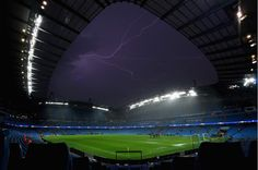 Heavy rain, thunder and lightning forced the postponement of Manchester City's Champions League group match against Borussia Monchengladbach. City triumphed in the rescheduled game the following night, with Sergio Aguero scoring his second hat-trick of the season in the 4-0 win