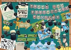 Shaun the Sheep  Printable Birthday Party Pack  DIY