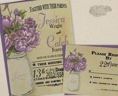 Mason Jar Wedding Invitation Set - Printable Rustic Wedding Invitations, Shabby Chic Romantic Purple Peonies Spring & Summer-DIY Barn Invite by X3designs