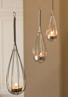 whisk lights - put tea lights in whisk for a cute & easy light Brought to you by LG Studio
