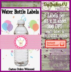 Printable Princess Water Bottle Wrap for by DigiGraphics4u on Etsy