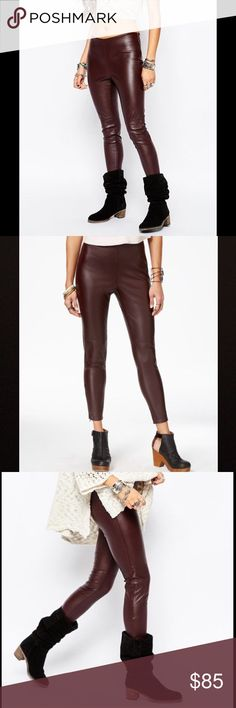 Free People Vegan Leather Ankle Skinny Leggings New with tags! Free People Vegan Faux Leather Ankle Skinny Leggings Pants color Oxblood size 6  Faux leather leggings help achieve a sleek and chic look. Fitted curved waistband. Side zip closure. Concealed ankle zips. 100% polyurethane. Free People Pants