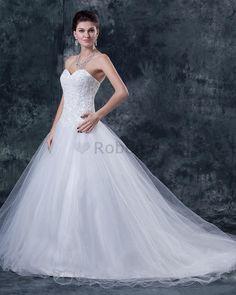 Robe de mariée solennel de princesse longueru au niveau de sol manche nulle pendant