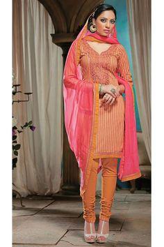 Eye-catchy Cotton Orange Printed Salwar Suit