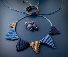 Set macrame, bracelet, necklace, earrings in blue colors