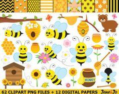 Busy Bee  Clip art and digital paper set  Bee por pixelpaperprints