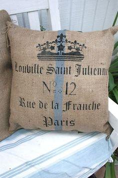 Paris burlap pillow