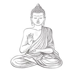 Gautama buddha with closed eyes and raised right hand, sitting and meditating, dressed in clothes on vector illustration isolated on white background Buddha Tattoo Design, Buddha Tattoos, Arm Tattoos, Buddhist Symbol Tattoos, Buddhist Symbols, Hindu Tattoos, Buddhist Art, Buddha Drawing, Buddha Painting