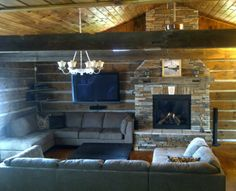 Cozy up by the fire in this Log Cabin Rental Log Cabin Rentals, Two Bedroom, Log Homes, Georgian, Cozy, Cottage, Rooms, Fire, Home Decor