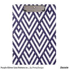 Purple Glitter Line Pattern on Clipboard