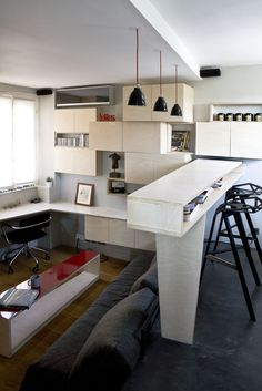 design small apartment  Small Apartment in Paris Displaying an Optimized 16m² Surface