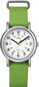 Timex Women's T2N835 Weekender Mid-Size Slip-Thru Strap Nylon Green Watch (Watch)