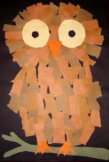 She read Owl Moon and we made torn paper owls