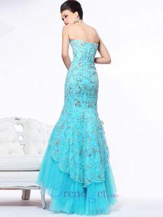 Modest Trumpet / Mermaid Floor-length Strapless Lace Organza Prom Dresses Blue - $177.99 - Trendget.com
