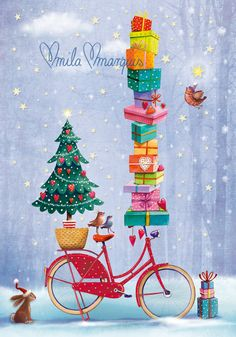Christmas card by Mila Marquis by MarquisWonderland on Etsy