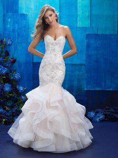 Wedding Dresses, Bridesmaid Dresses, Prom Dresses and Bridal Dresses Allure Wedding Dresses - Style 9421 - Allure Wedding Dresses, Spring Ruffles create an exaggerated silhouette for this strapless mermaid gown. Fabric: Tulle and Beaded Embroidery Spring 2017 Wedding Dresses, Wedding Dress Trends, Bridal Wedding Dresses, Dream Wedding Dresses, Wedding Attire, Bridal Style, Lace Wedding, 2017 Bridal, Bling Wedding