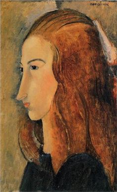 Portrait of Jeanne Hebuterne by Amedeo Modigliani, 1918. Expressionism. Yale University Art Gallery, New Haven, Connecticut, USA.