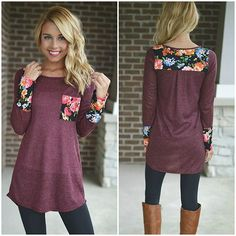 Love this tunic! The color is gorgeous and I love the flower detailing http://bellanblue.com
