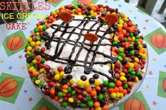Delicious and easy Skittles Ice Cream Cake! You will be the hit of your household!  #SkittlesTourney #ad