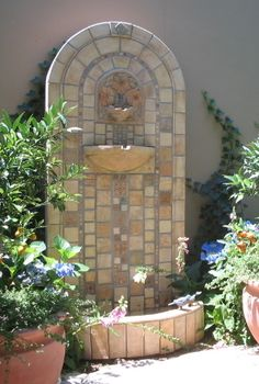 Early California Tiled Wall Fountain.