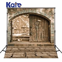 Kate Brick Wall Photography Backdrops Wood Door Retro Photo Background House For Children Backdrop