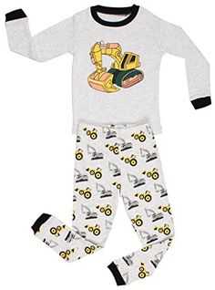 """Elowel Little Boys""""Bulldozer"""" 2 Piece Pajama Set 100% Cotton (Size2Y-8Y) * Check this awesome image @"""