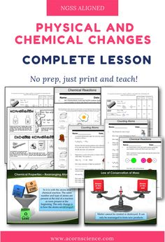 This comprehensive Middle School NGSS packet on Physical and Chemical Reactions is designed to align with the NGSS Middle School and standards. 7th Grade Science, Science Curriculum, Science Resources, Science Classroom, Science Lessons, Teaching Science, Science Activities, Teaching Ideas, Ngss Middle School