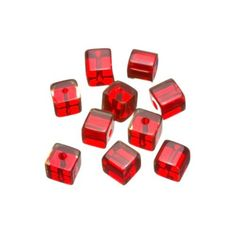 Glass Beads, Transparent, 7mm, Red, Clear, Cube, Square, Sold Individually Break up simple round patterns with this unique cube bead fromBeaded Creations. These transparent clear red glass cube beads are 7mm in size, making it ideal in all jewelry types. Use it to space between colorful round beads in a necklace or pa Glass Cube, Red Glass, Designer Earrings, Round Beads, Silver Earrings, Glass Beads, Colorful, Patterns, Space