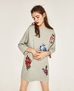 PLUSH DRESS WITH EMBROIDERED PATCHES-DRESSES-WOMAN   ZARA United States