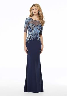 Shop Morilee's Embroidered Sheath Evening Gown in Crepe and Net. Stretch crepe sheath Mother of the Bride dress featuring contrasting embroidery on net with an illusion neckline and three-quarter sleeves. Mother Of The Bride Gown, Mother Of Groom Dresses, Bride Groom Dress, Bride Gowns, Mothers Dresses, Blue Evening Dresses, Evening Gowns, Prom Dresses, December Wedding Dresses
