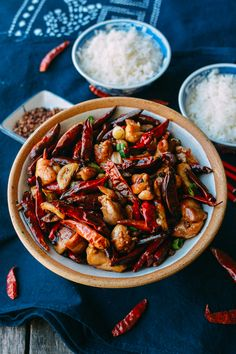 """chongqing """"chicken"""" - i bet this would be just as good with pressed tofu or tempeh."""