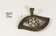 HOLIDAY SPECIAL PRICE Antique style Big Evil Eye Design Pendant 14ktGold .925Sterling Silver with Rosecut Diamonds and Pave Diamond Bail by AcmeJewels on Etsy