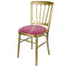 Gold Bentwood Wedding Chair with Fuchsia Pink Seat Pad