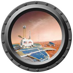 Mars Landscape Porthole Vinyl Wall Decal by WilsonGraphics on Etsy, $13.00