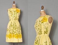 vintage 1960s dress / 60s dress  / yellow floral dress  / vera neumann dress / MELLOW YELLOW on Etsy, £118.08