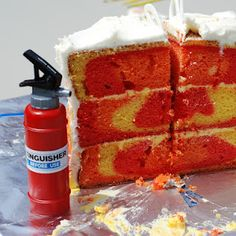 inside of fire truck birthday cake - oh my goodness how awful! Imagine giving this to kids with all the color in it :-(