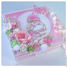 Купить Коробочка для денежного подарка на рождение девочки - с новорожденной, коробочка для денег, Конверт для денег