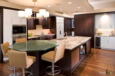 An Astounding Octagonal Glass Table Kitchen For Modern Kitchen With Lux Brown Bar Stools And Marble Countertop With Teakwood Cabinet And Pretty White Pendant Lamp Superb Glass Tables for a Stylish Kitchen for Kitchen Design Development Part Furniture, Kitchen design
