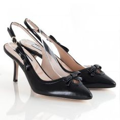 Lucy Choi Black Leather Rajah Women's Sling Back Shoe Leather Shoes, Black Leather, Designer Shoes Online, Fashion Accessories, Footwear, Purses, My Style, Heels, Bags