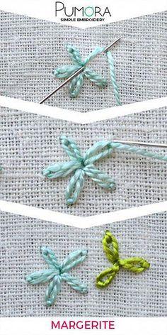 Embroidering daisies - learning to embroider flowers - Pumora- Margeriten sticken – Blumen sticken lernen – Pumora Embroider flowers: daisies - Simple Embroidery, Learn Embroidery, Silk Ribbon Embroidery, Crewel Embroidery, Embroidery For Beginners, Cross Stitch Embroidery, French Knot Embroidery, Modern Embroidery, Embroidery Stitches Tutorial