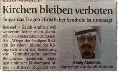 #Islamaufklärung In Europa werden Moscheen mit Geldern aus Saudi-Arabien und Quatar finanziert, während Kirchen in den muslimischen Ländern verboten bleiben. Sogar das Tragen christlicher Symbole ist untersagt.