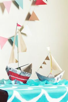 love the ideas for paper boats, favors, boat in the back yard, paper hats. great for T's pirate party. tommy-s-birthday Kids Crafts, Craft Projects, Boat Crafts, Diy Paper, Paper Art, Paper Crafts, Nautical Party, Festa Party, Pirate Party