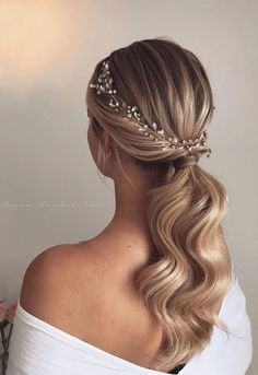 Gorgeous Wedding Hairstyles For The Elegant Bride 1 - I Take.- Gorgeous Wedding Hairstyles For The Elegant Bride 1 – I Take You Wedding Hair And Makeup, Hair Makeup, Ponytail Wedding Hair, Hair For Bride, Wedding Hair Down Styles, Hair Styles Elegant, Wedding Hair Jewelry, Bridal Hair Updo Elegant, Hair Pieces For Wedding
