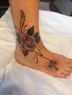 Traditional rose and Rosary by Sean @ The Gallery Tattoos Ottawa's Premiere Custom Tattoo Shop