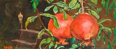 Original print of Oil Painting on Canvas pomegranate by by Stpom, $227.00
