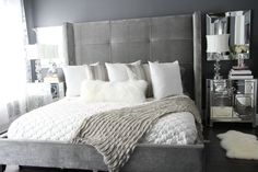 Finally finished my master bedroom. Shades of whites, silvers and metallics.