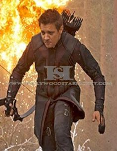 avenger age of ultron hawkeye real leather coat