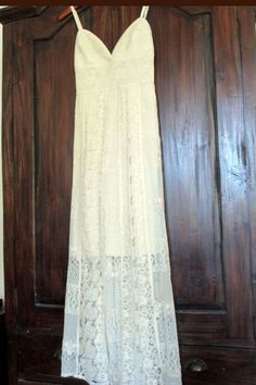 SOLITAIRE BOHO LACE RUFFLE IVORY PEASANT MAXI LONG DRESS ANTHROPOLOGIE  L #Solitaire #Maxi #Casual