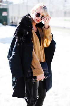 Black fur - Camel tan knit - Leather - Street style Winter Fashion