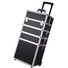 AW 4in1 Black Aluminum Rolling Wheel Makeup Train Case Professional Artist Cosmetic Outdoor Box Organizer *** Details can be found by clicking on the image.